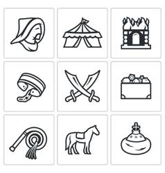 Mongol-Tatar yoke icons set vector image