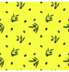 Seamless pattern with olives on yellow background vector image