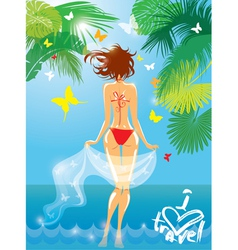 Woman in bikini swimwear at tropical beach with pa vector image vector image