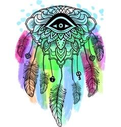 American Indian talisman dreamcatcher with eye vector image vector image