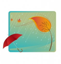 leaf and umbrella vector image vector image