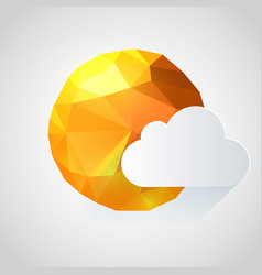 origami paper sun with cloud vector image