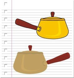 Stew pot with on paper vector image vector image