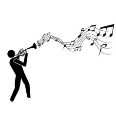 trumpet blowing music notes vector image