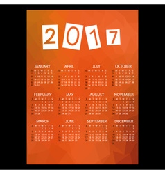 2017 simple business wall calendar with low vector image vector image