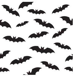 black bat seamless pattern on white vector image
