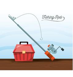 fishing equipment bucket and rod vector image vector image