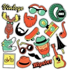 Hipster Vintage Fashion Stickers Patches Badges vector image