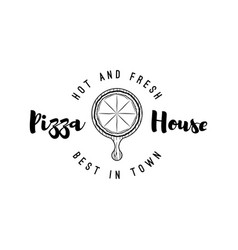 pizza lettering best in town vector image vector image