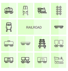14 railroad icons vector image