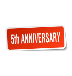 5th anniversary square sticker on white vector
