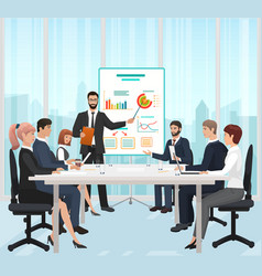 A manager businessman leading the presentation vector