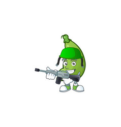 A mascot broad beans as an army with machine vector