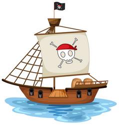 A pirate ship with jolly roger flag isolated vector