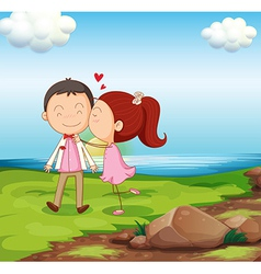 A sweet couple near the river vector image