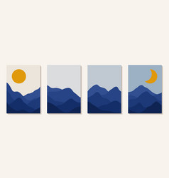 Abstract art mountain day and night sun vector