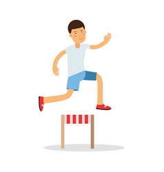 Active boy jumping hurdle cartoon character kids vector