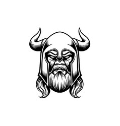 ancient viking head silhouette vector image