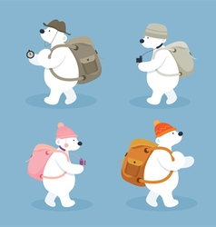 Arctic Polar Bear Characters Backpacker vector image