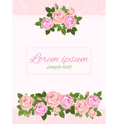 beige and pink roses greeting card copy space vector image