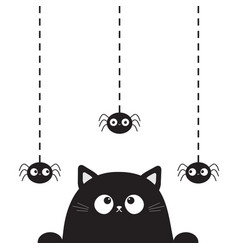 Black cute cat kitten face head looking on hanging vector