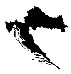 Black silhouette country borders map of croatia vector