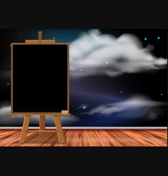 blackboard in the room with space wallpaper vector image