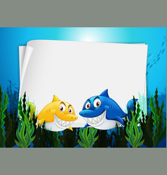 Blank paper template with many sharks cartoon vector