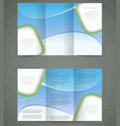 Blue brochure layout design business three fold vector