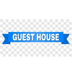 Blue ribbon with guest house text vector