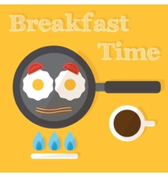 Breakfast time Fried eggs making process preparing vector image