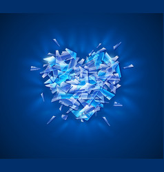 Broken diamond heart crystal vector