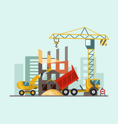building work process with houses and construction vector image
