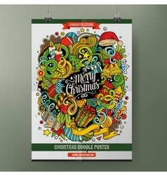 Cartoon doodles Happy New Year poster template vector