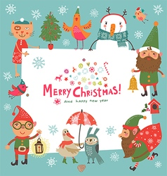 Christmas background with elf vector