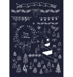Christmas design elements set on blackboard EPS vector image