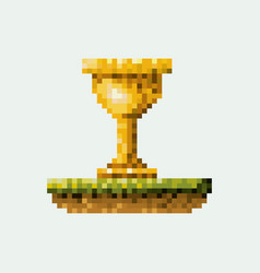 Color pixelated golden trophy in meadow vector