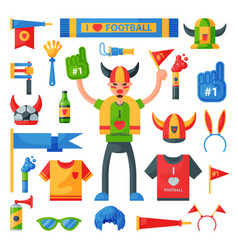Colored football soccer fan attribute rooter buff vector