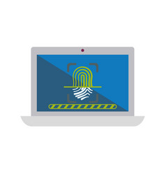 computer lock fingerprint security vector image