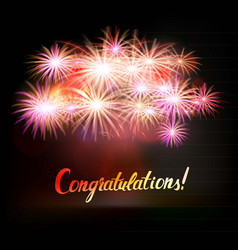 Congratulations word with fireworks vector