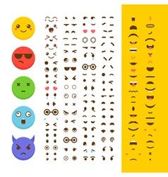 Create your own emoticon Kawaii faces Emoji Avatar vector