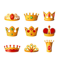 Crowns - realistic set of royal headgear vector