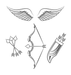 Cupid weapons icons vector image
