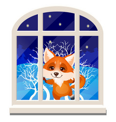 Cute cheerful smiling fox looks out through the vector