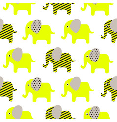 Cute elephant cartoon neon green baby seamless vector