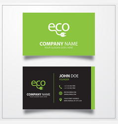 Eco power icon business card template vector