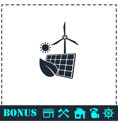 Eco power icon flat vector
