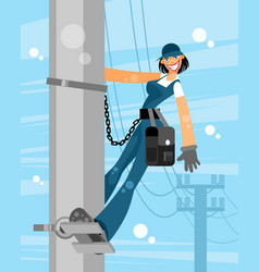 electrician woman on sky background vector image