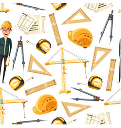 engineer and architect tools seamless pattern vector image