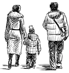 family on walk vector image